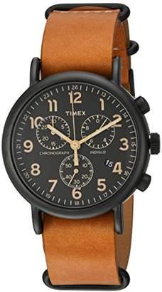 Timex Unisex TW2P97500 Weekender Chrono Tan Leather Slip-Thru Strap Watch