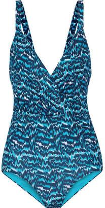 Matthew Williamson Wrap-effect Cutout Printed Swimsuit - Petrol