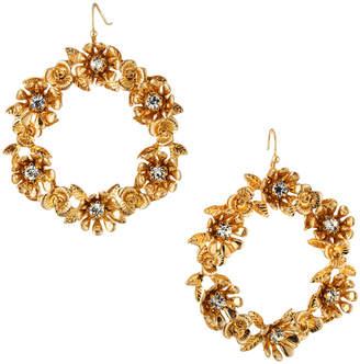 Lydell NYC Floral Hoop Drop Earrings