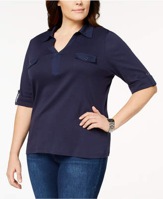 Karen Scott Plus Size Cotton Polo-Collar Top, Created for Macy's