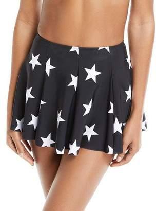 Norma Kamali Pleated Star-Print Mini Swim Skirt