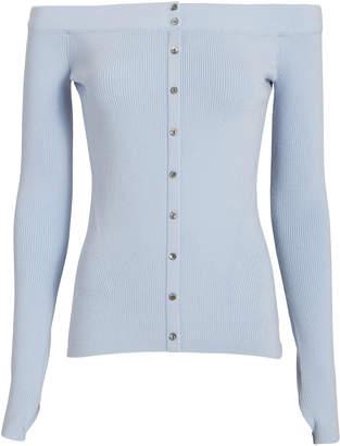 Intermix Delphine Off Shoulder Blue Knit Sweater
