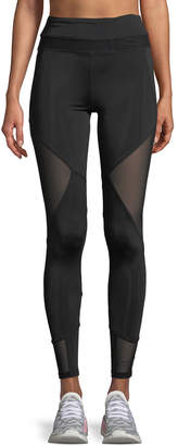 Sam Edelman Diamond Long Mesh-Side Leggings, Black