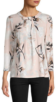 Karl Lagerfeld PARIS Faux Pearl-Embellished Lace Top