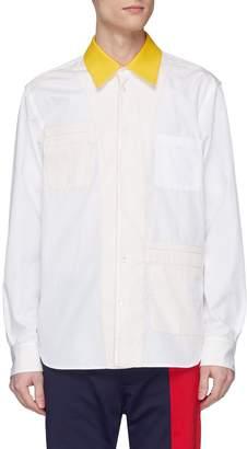 Marni Colourblock twill panel reversible shirt