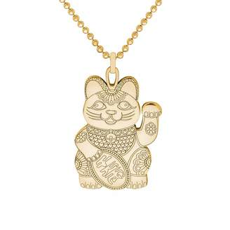 CarterGore - Gold Lucky Cat Pendant Necklace