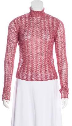 John Galliano Lurex Mock Neck Sweater