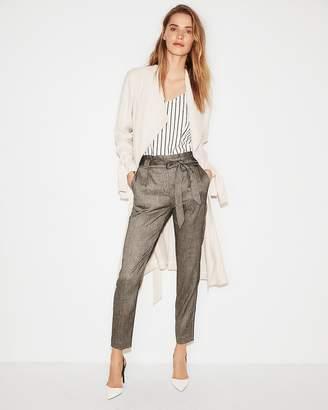 Express High Waisted Linen-Blend Sash Waist Ankle Pant