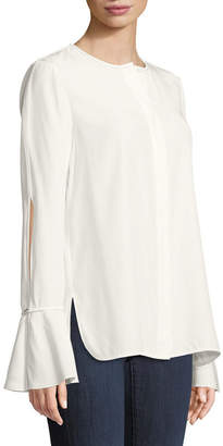 Lafayette 148 New York Izzie Matte Silk Blouse w/ Bell Sleeves
