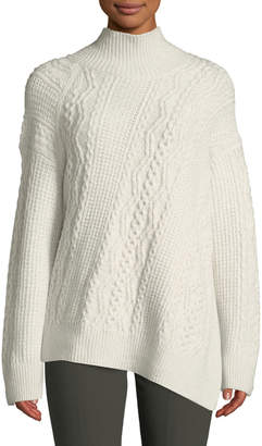 Vince Diagonal Cable-Knit Turtleneck Sweater