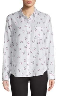 Rails Charlie Cherry-Printed Linen-Blend Shirt