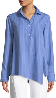 Palmer Harding Palmer//Harding Asymmetric Striped Button-Front Shirt