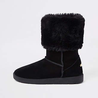 River Island Black faux fur lined boots