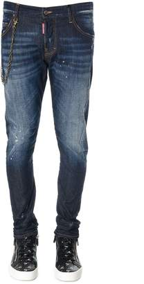 DSQUARED2 Stone Washed Denim Jeans With Chain Insert