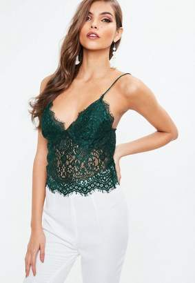 Missguided Tall Green Lace Slip Bralette