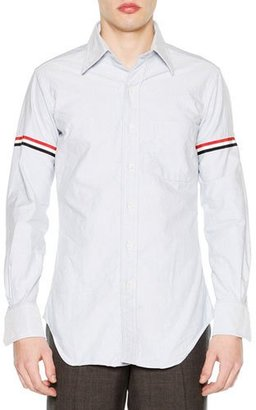 Thom Browne Classic Arm-Stripe Long-Sleeve Oxford Shirt, Blue $410 thestylecure.com