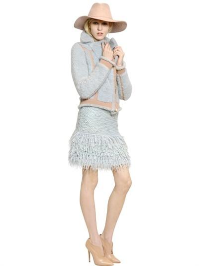 Blumarine Wool Knit & Mohair Bouclé Knit Jacket