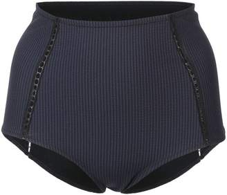 Jonathan Simkhai Seersucker High Waisted bikini bottoms