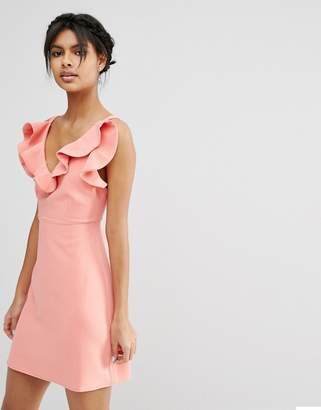 Asos Design Structured Frill A-line Mini Dress