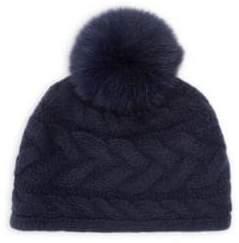 Portolano Cable Knit Fox Fur Pom Pom Cashmere Beanie