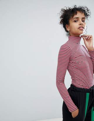 Daisy Street Long Sleeve Top With Zip Neck In Stripe