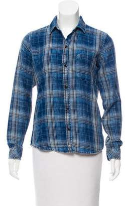 Current/Elliott Plaid Long Sleeve Top