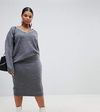 Asos DESIGN Curve two-piece midi skirt in fluffy yarn