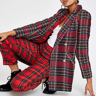 River Island Red check plaid double-breasted jacket