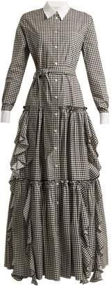 Sara Battaglia Gingham cotton dress