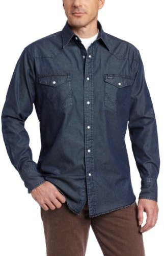 Wrangler Men's Premium Performance Denim Stone Wash Work Shirt