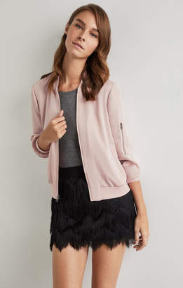 BCBGMAXAZRIA Zip Sleeve Baseball Jacket