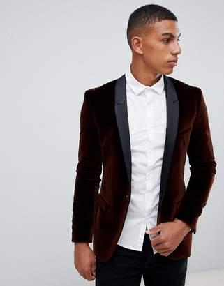 HUGO Arti extra slim fit velvet blazer jacket with satin lapels in brown