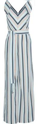 Lela Rose Knotted Striped Seersucker Jumpsuit