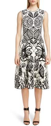 Alexander McQueen Shell Jacquard A-Line Dress