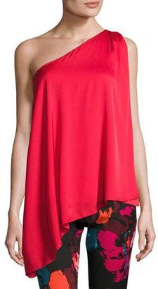 Trina Turk Nimah Asymmetric One-Shoulder Stretch Silk Top, Red $278 thestylecure.com