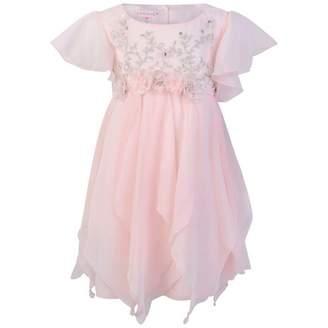 Kate Mack Kate MackGirls Pink Chiffon Flutter Sleeve Dress
