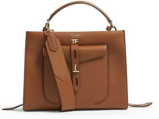 Tom Ford Leather T Twist Top Handle Bag