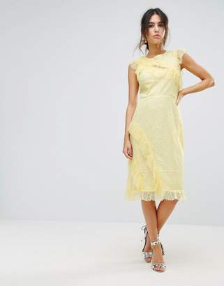 Warehouse Eyelash Lace Frill Dress