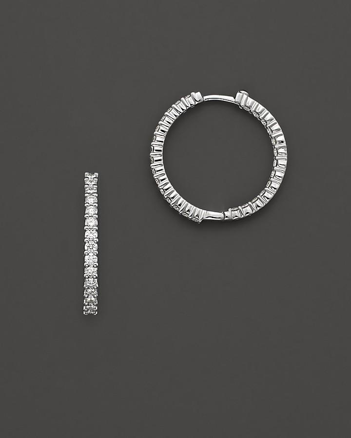 Roberto Coin 18 Kt. White Gold/Inside Out Diamond Hoop Earrings, 25 mm