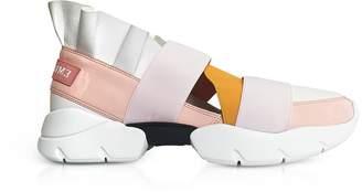 Emilio Pucci Light Pink, White and Orange Nylon Ruffle Sneakers