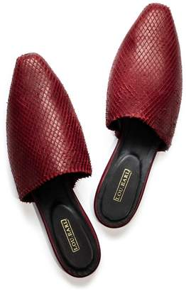 Lou.Earl Aix In Oxblood Laser-Cut Leather Flat Mules