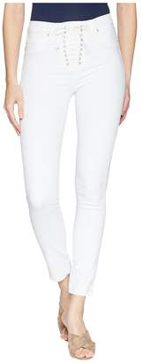 Hudson Bullocks High-Rise Lace-Up Skinny Jeans in Optical White Women's Jeans