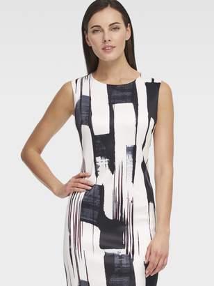 DKNY Printed Paint Stroke Sleeveless Sheath Dress