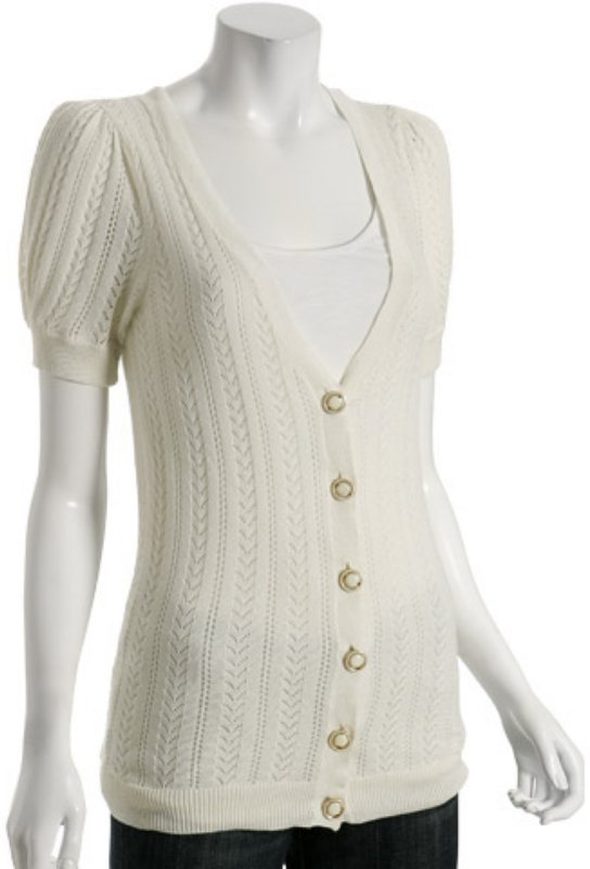 Juicy Couture clotted cream cotton pointelle v-neck cardigan