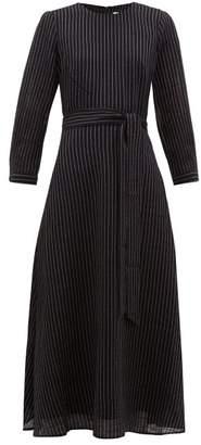 Cefinn - Belted Pinstripe Voile Midi Dress - Womens - Navy White