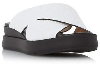 Dune Black Ladies LUST Cross Strap flatform Slider Sandal in White