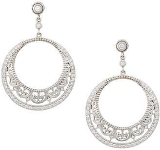 Penny Preville 18k White Gold Diamond Lace Hoop Earrings