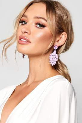 boohoo Statement Floral Diamante Earrings
