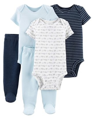 Carter's Child Of Mine By Short Sleeve Bodysuits & Pants, 5pc Outfit Set (Baby Boys)