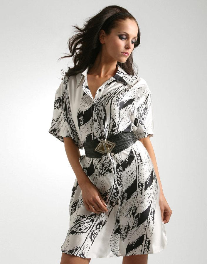 Gestuz Feather Print Oversized Silk Shirt Dress